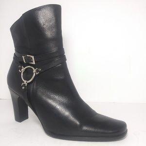 Harley Davidson Black Vegan Leather Heel Boots Sz7